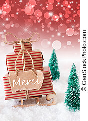 Vertical Christmas Sleigh, Red Background, Merci Means Thank...