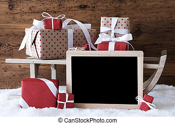 Sleigh With Gifts, Snow, Copy Space