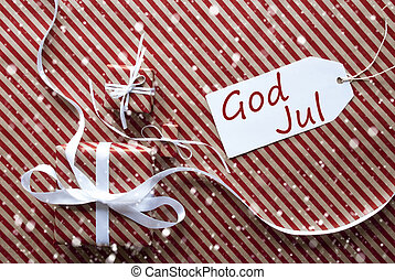 Gifts With Label, Snowflakes, God Jul Means Merry Christmas...