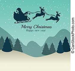 merry christmas and happy new year silhouette santa sleigh...