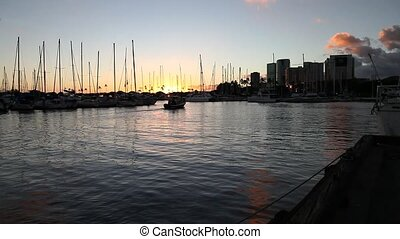 Honolulu waterfront Oahu - Skyline at sunset of Ala Wai...