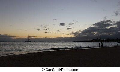 Waikiki beach Hawaii - Twilight at Waikiki beach in Oahu....