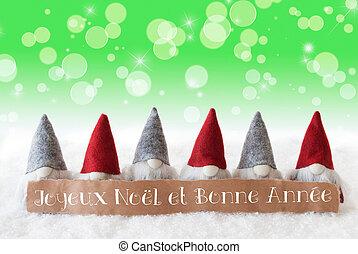 Gnomes, Green Background, Bokeh, Stars, Joyeux Noel Means...