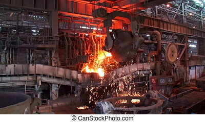 Pouring of liquid metal at the metallurgical plant