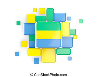 Flag of gabon, mosaic background with square parts. 3D...