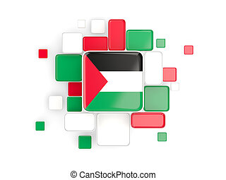 Flag of palestinian territory, mosaic background with square...