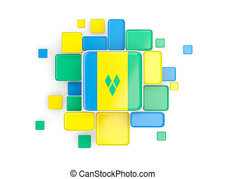 Flag of saint vincent and the grenadines, mosaic background...