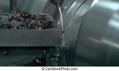 Milling metalworking process. Industrial CNC machining of...