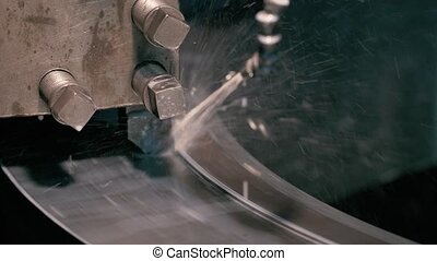 rolls of steel sheet in a warehouse, metal processing on...