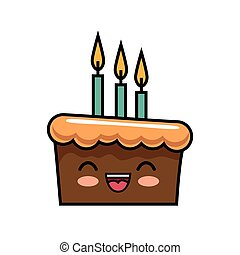 cute kawaii cake chocolate candles happy