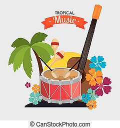 poster tropical music dumb guitar maraca palm and flower...