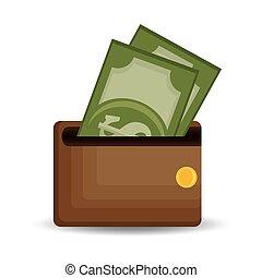 wallet save money dollar bills icon