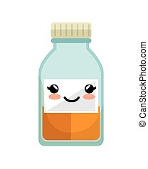 cute kawaii medicine bottle icon vector illustration eps 10