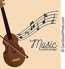 music festival fiddle wooden and notes vector illustration...