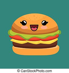 cute kawaii burger yummy fast food