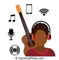 character afro boy headphone wifi music cd vector...