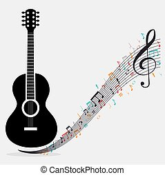 traditional guitar treble clef notes vector illustration eps...