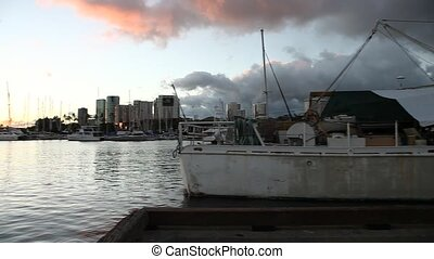 Honolulu waterfront panorama - 180 degrees panorama of the...
