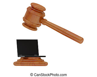 hammer  - The hammer of the judge strikes on the laptop.