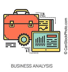 Business analysis line infographic.
