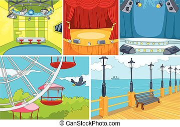 Vector cartoon set of theater and park background - Hand...