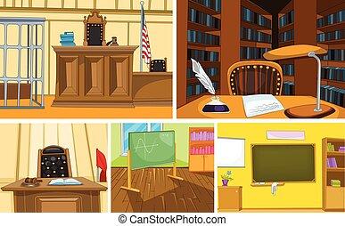 Vector cartoon set of court and school backgrounds - Hand...