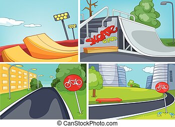 Cartoon set of skatepark and bike lane backgrounds - Hand...