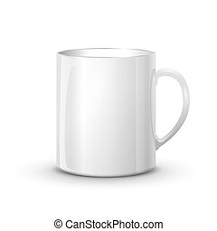Realistic glossy white cup with shadow isolated on white