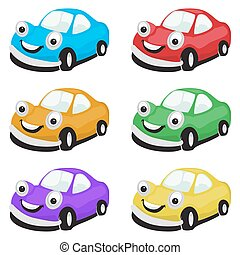 Set of cartoon cars in different colors. Bright vector...
