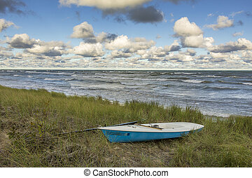 Sailboat in Dune Grass Next to Lake Huron - Canada -...