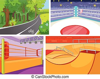 Cartoon set of backgrounds - sport infrastructure - Hand...