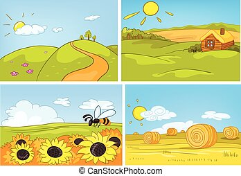 Vector cartoon set of summer backgrounds. - Hand drawn...