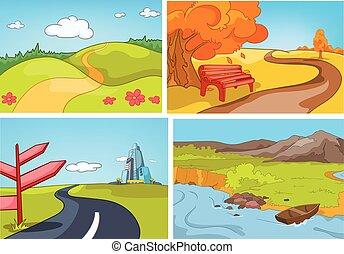 Vector cartoon set of summer, autumn backgrounds. - Hand...