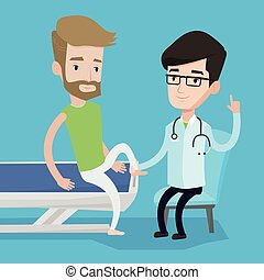 Gym doctor checking ankle of a patient. - Caucasian gym...