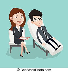 Psychologist having session with patient. - Caucasian...
