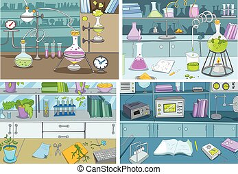 Cartoon set of backgrounds - chemical laboratory. - Hand...