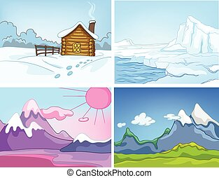 Vector cartoon set of winter backgrounds. - Hand drawn...