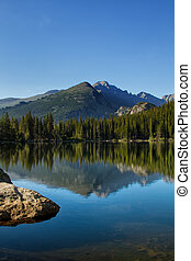 Longs Peak Reflection in Bear Lake - Long's Peak in Rocky...