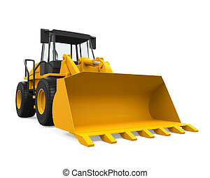 Wheel Loader Bulldozer isolated on white background. 3D...