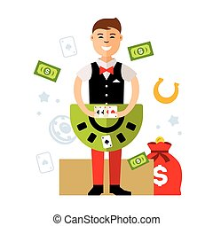 Vector Casino dealer. Flat style colorful Cartoon...