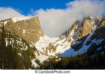Hallett Peak and Flattop Peak in Rocky Mountain National...