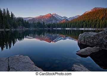 Longs Peak Reflection on Bear Lake - Longs Peak reflects in...
