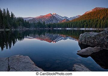 Longs Peak Reflection on Bear Lake - Longs Peak reflects in...