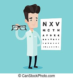 essional ophthalmologist holding eyeglasses. - Caucasian...