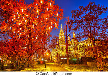 Vienna town hall and park