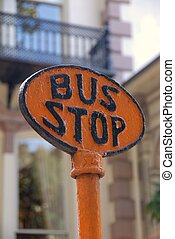 Old Bus Stop Sign - Old bus stop sign at historic Savannah...