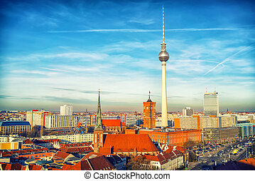 Aerial view on Berlin - Aerial view on Alexanderplatz in...