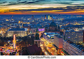 Aerial view on Berlin at night - Aerial view on downtown of...