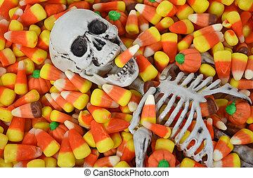 Halloween skeleton in candy corn