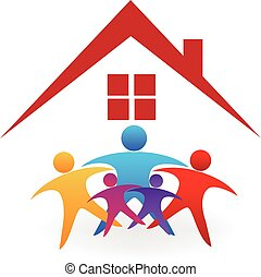 Family house logo - Happy family with a new house...